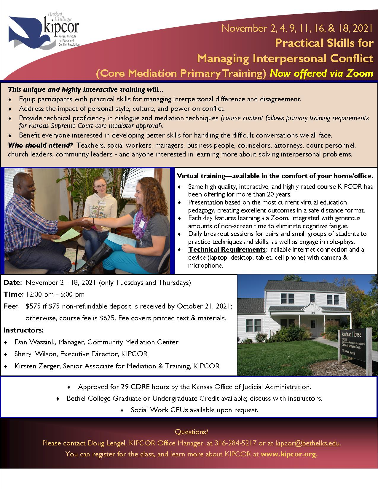 Practical Skills for Managing Interpersonal Conflict (Core Mediation Primary Training) Via Zoom November 2021