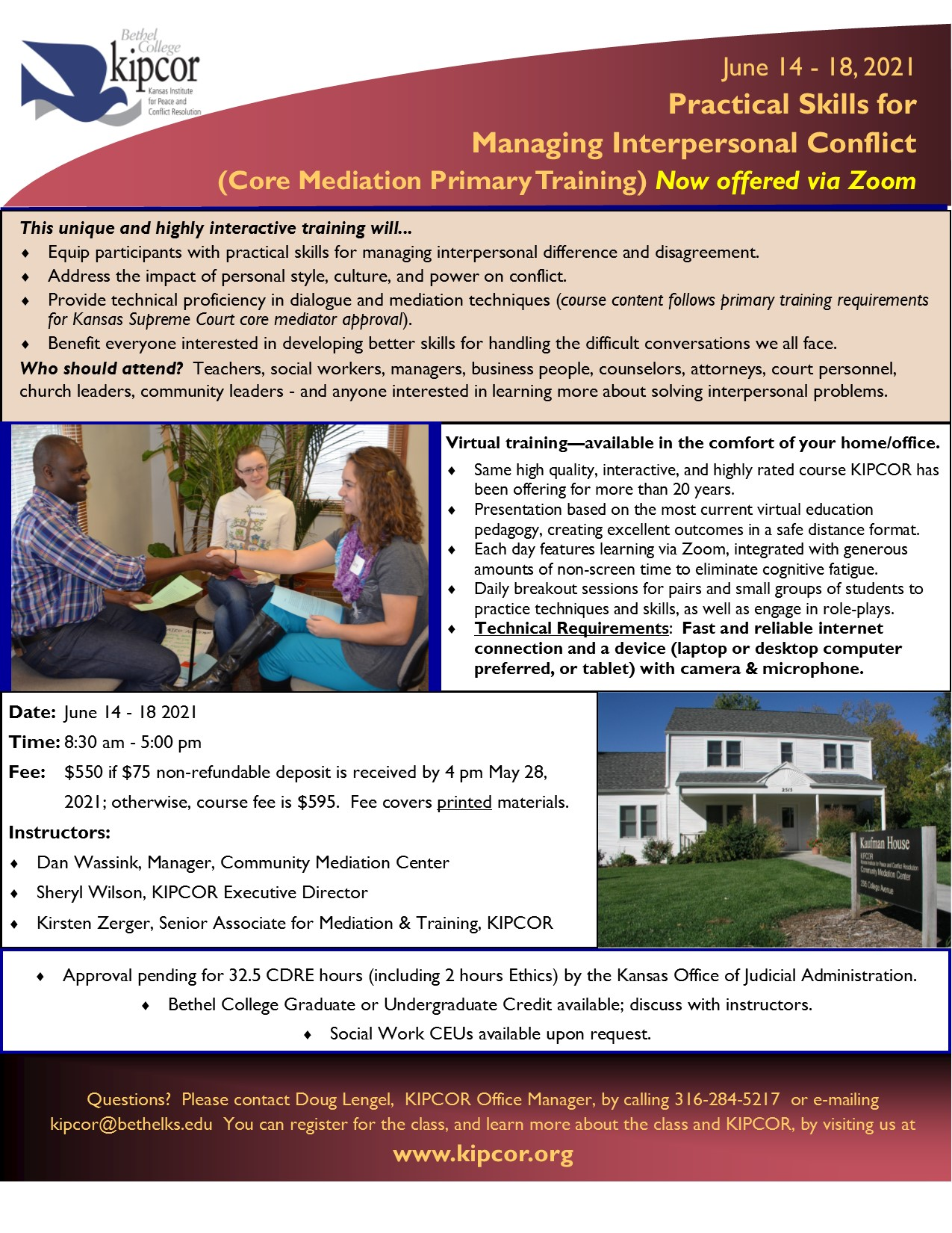 Summer Institute:  Practical Skills for Managing Interpersonal Conflict (Core Mediation Primary Training) Via Zoom June 2021