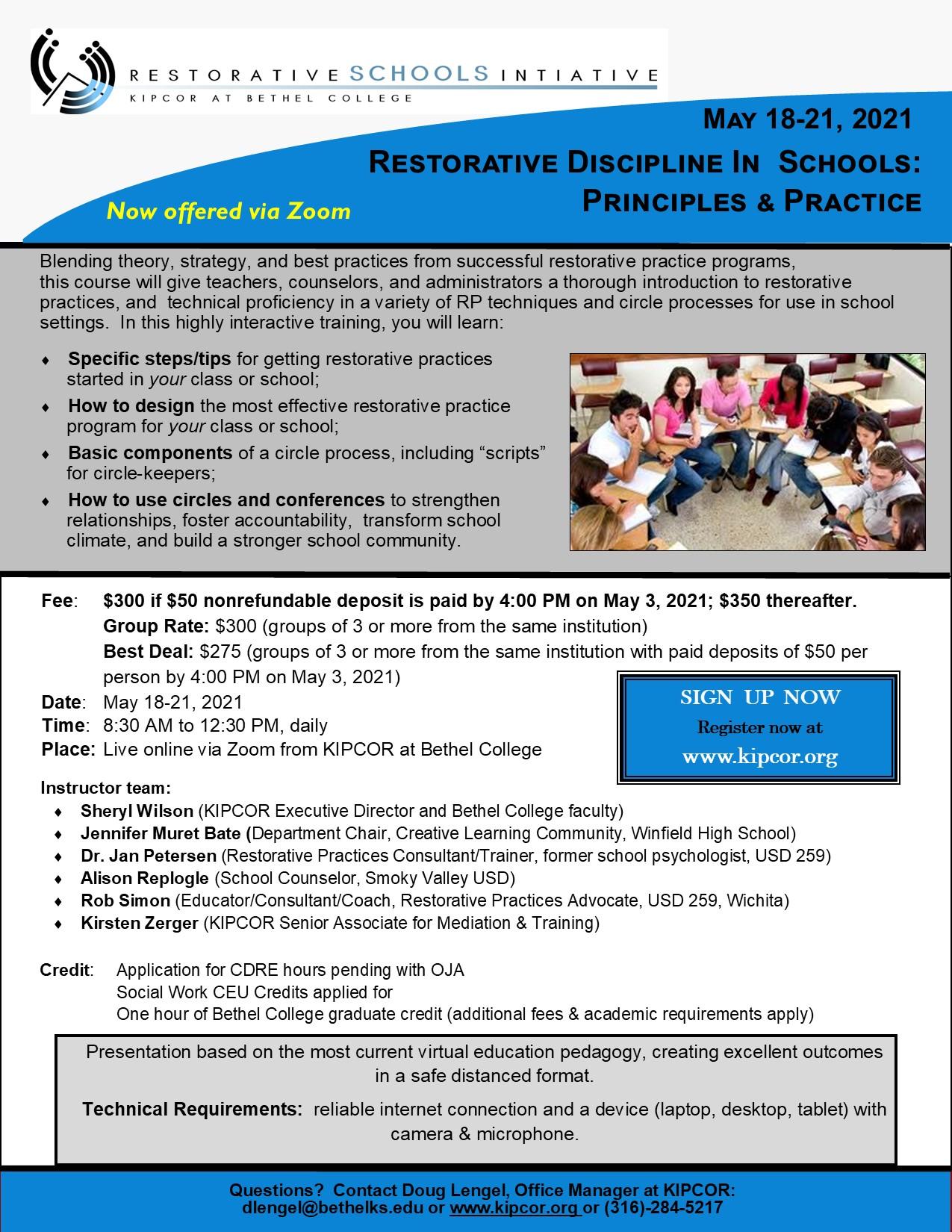 Restorative Discipline in Schools:  Principles and Practice