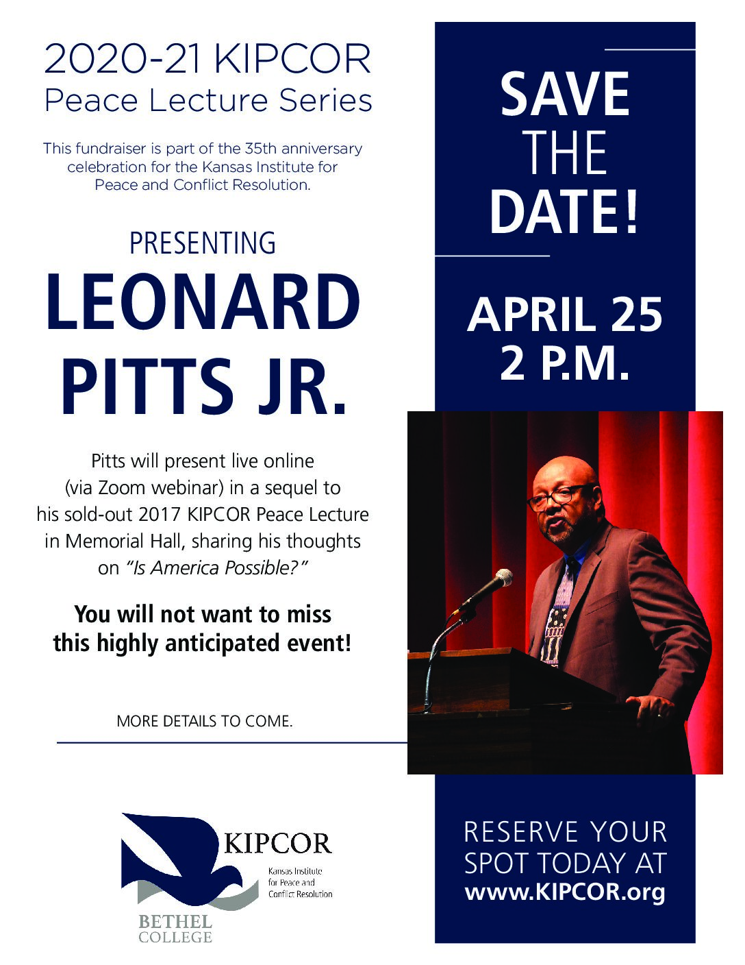 Click here for new information about Leonard Pitts Jr. Peace Lecture!