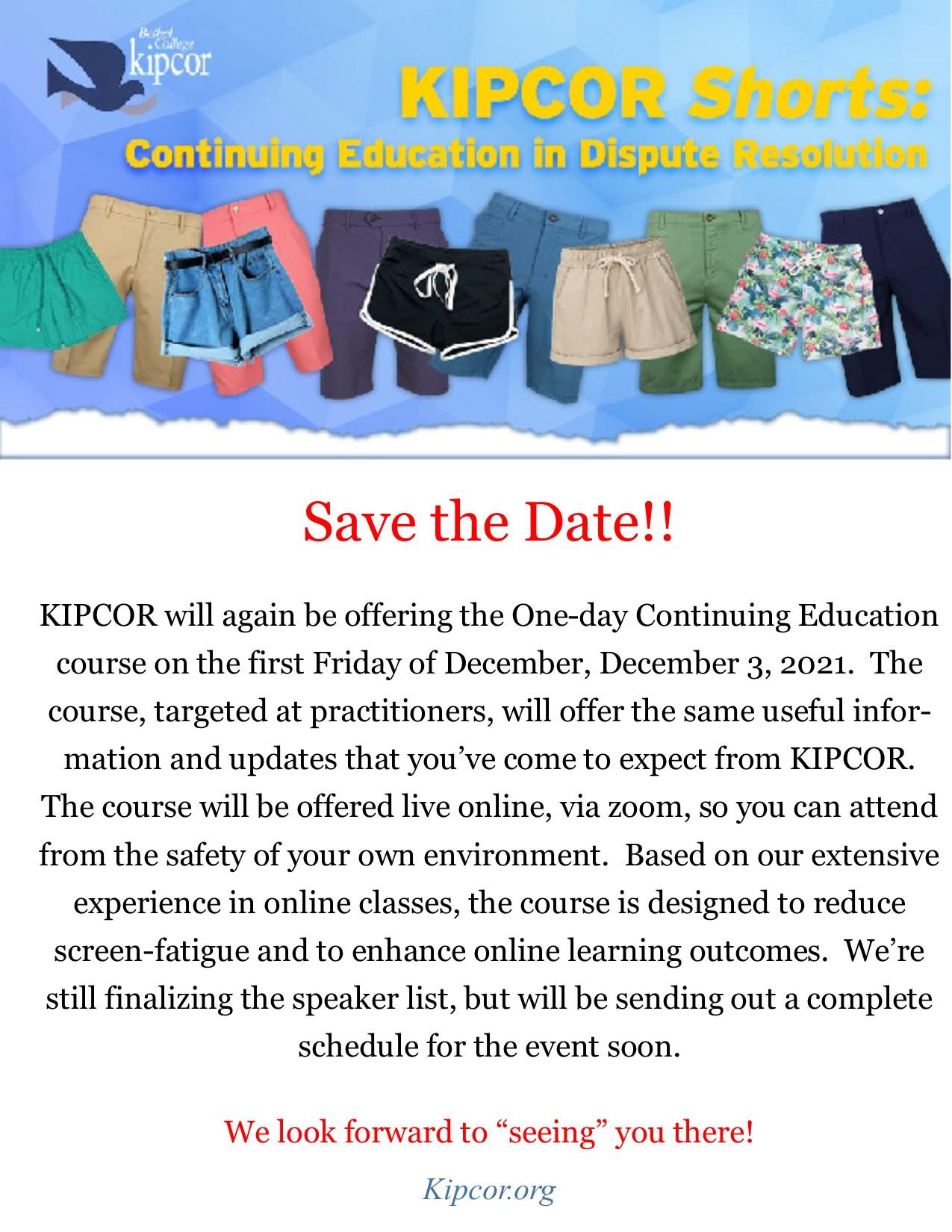 KIPCOR Shorts 2021  Save the Date!!!!